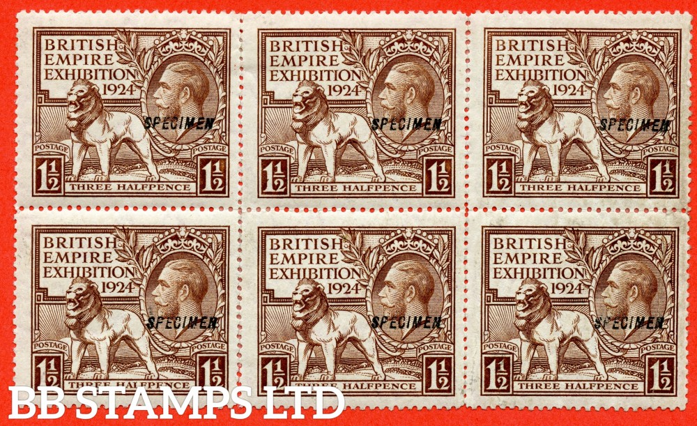 """SG. 431 s. NCom2 t. 1½d Brown. A mounted mint """" LINE PERF """" block of 6 ( 2 stamps with light vertical creases but 4 stamps fine ) overprinted SPECIMEN type 23. A RARE multiple."""