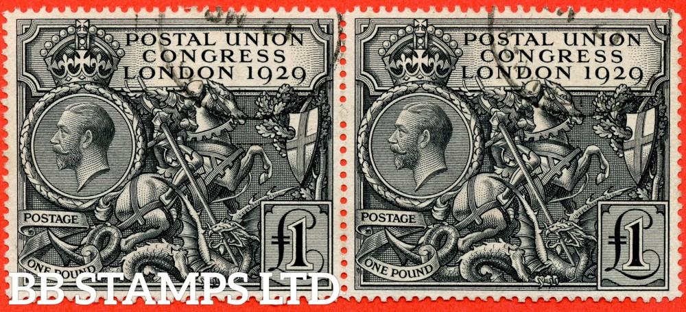 SG. 438. NCom9. £1.00 Postal Union Congress. A fine CDS used used horizontal pair.