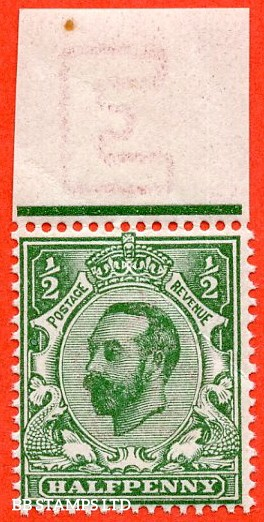 SG. 323. N1 (4). ½d Bluish Green. Die 1A. A super UNMOUNTED MINT top marginal example of this scarcer Downey shade complete with RPS certificate.