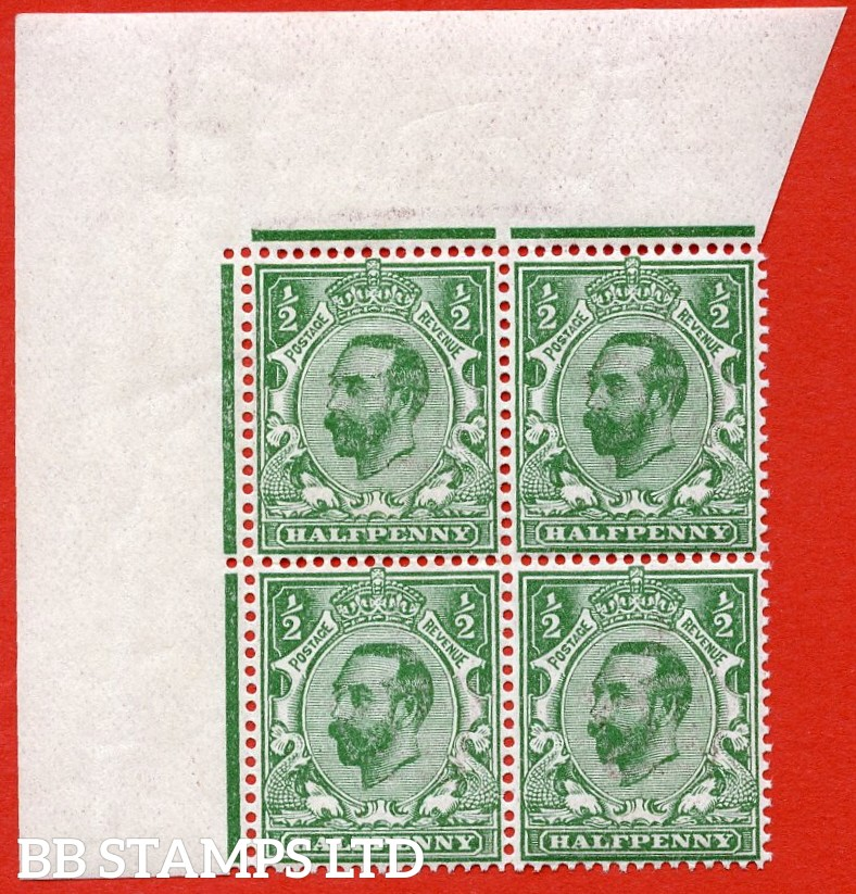 SG. 323. N1 (4) ½d Bluish Green. A super UNMOUNTED MINT top left hand corner marginal block of 4 of this scarcer Downie shade complete with RPS Certificate.