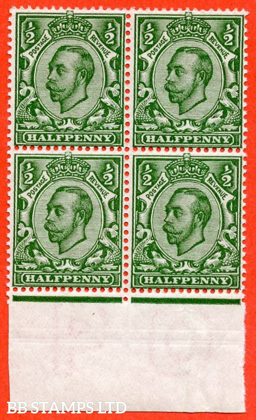 """SG. 339. N4 (1) h. ½d green. A superb UNMOUNTED MINT bottom marginal block of 4 with the UNLISTED variety """" Part ALBINO double impression in margin """" complete with RPS certificate."""