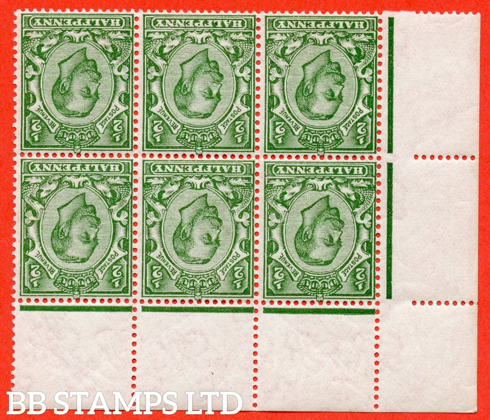 """SG. 346 wk. N6 (1) c & k. ½d Green. INVERTED & REVERSED WATERMARK. A fine UNMOUNTED MINT top left hand corner marginal block of 6 with the listed variety """" white scales. ( Plate ?. Row 1/3 ) """"."""