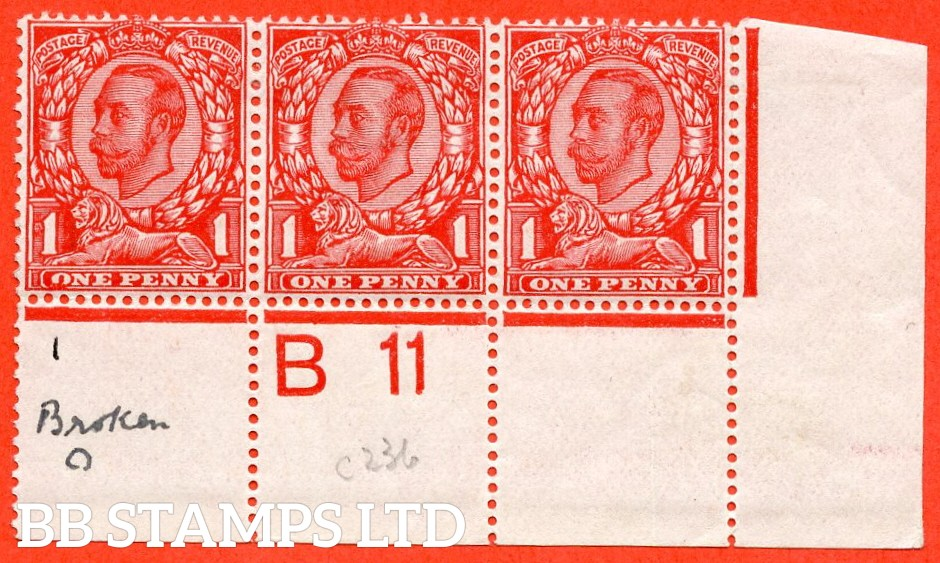 "SG. 342. N11 (1) e. 1d scarlet. Die 2. A fine lightly mounted mint control "" B11 perf "" strip of 3. Perf type 2A. With the listed variety "" coloured blot on ' O ' of ' ONE '. Plate 5b. Row 20/10""."