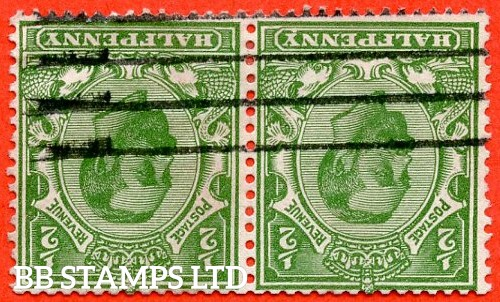 "SG. 325 wi. N2 (1) a j. ½d bright green. Die 1B. INVERTED WATERMARK. A good used horizontal pair with the left hand stamp clearly showing the listed variety "" indent below ' Y '. ( Row 1/1 of booklet pane NB1a ""."
