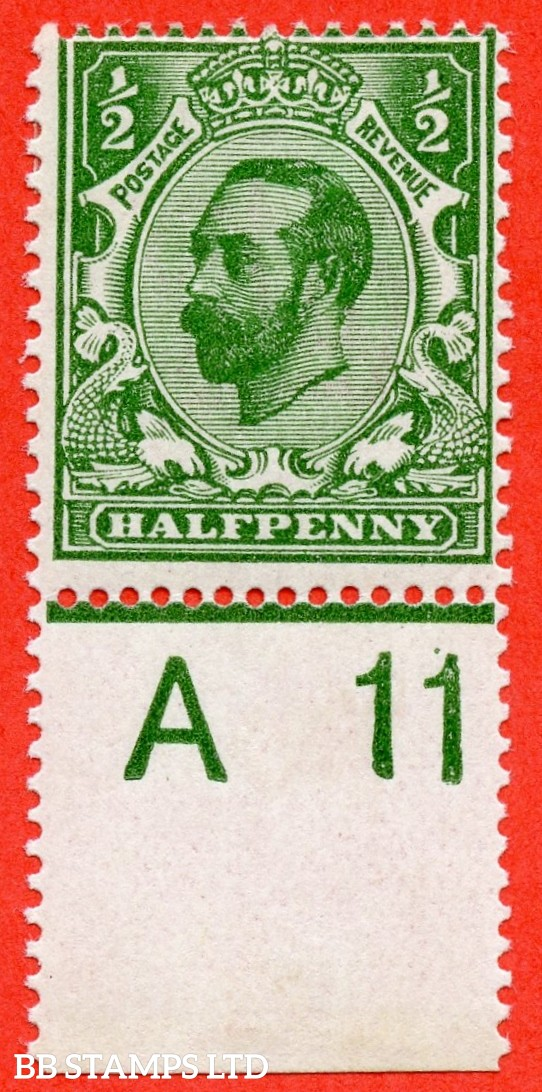 "SG. 323. N1 (4). ½d Bluish Green. Die 1A. A super lightly mounted mint control "" A11 wide "" example of this scarcer Downey shade complete with RPS certificate. A very scarce stamp to get with control attached."