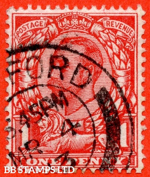 """SG. 343a. N11(5) d. 1d Aniline scarlet. """" NO CROSS ON CROWN """" A very fine """" 3rd March 1913 """" CDS used example of this RARE George V variety. Unpriced in SG."""