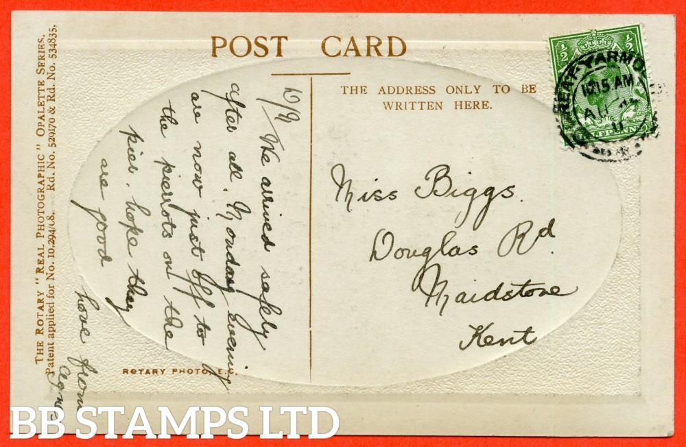 "SG. 322a. N1 (1) b. ½d Green. Perf "" 14 "". A very fine "" 24th August 1911 GREAT YARMOUTH "" CDS used example of this RARE and very underrated George V Downey perforation variety complete on postcard. Complete with RPS certificate."