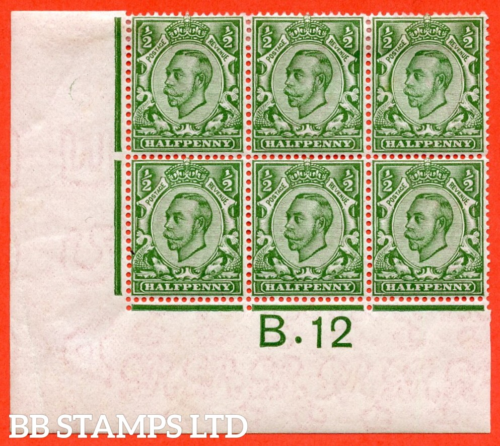 "SG. 346 N6 (1) ½d Green Die 2.  A very fine mint ( bottom 3 stamps UNMOUNTED MINT ) control "" B.12 imperf  "" block of 6. A VERY RARE block from the Somerset House printing. Perf type 2."