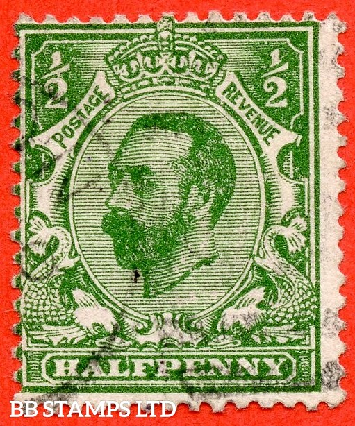 "SG. 322a. N1 (1) b. ½d Green. Perf "" 14 "". A very fine used example of this RARE and very underrated George V Downey perforation variety."