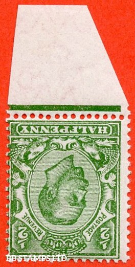 SG. 344 wi. N5 (1) b. ½d Green. Die 2. INVERTED WATERMARK. A super UNMOUNTED MINT bottom marginal example of this difficult George V watermark variety.