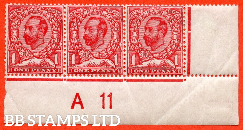 """SG. N8 (6) f. 1d Carmine Red. Die 1B. A fine lightly mounted mint control """" A11 imperf - close """" strip of 3 with the listed variety """" small white spot on forehead ( Plate 4. Row 20/11 ) """"."""