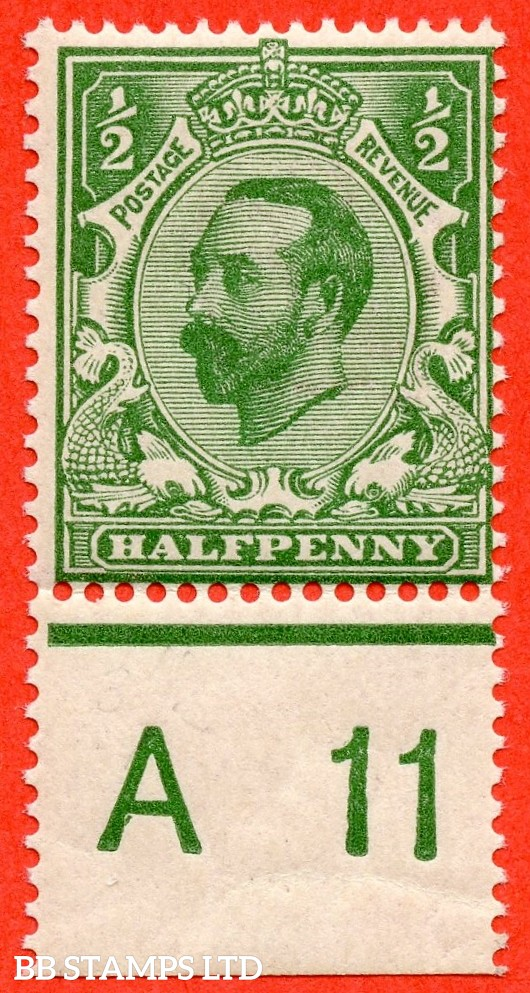 "SG. 323. N1 (4). ½d Bluish Green. Die 1A. A super UNMOUNTED MINT control "" A11 perf ""  example of this scarcer Downey shade complete with RPS certificate."