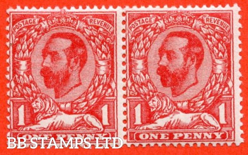 SG. 328 a variety N7 (1) f. 1d carmine red. Die 1A. A super UNMOUNTED MINT horizontal pair with the right hand stamp clearly showing the RARE variety ' No Cross On Crown '. A very RARE and underrated stamp.