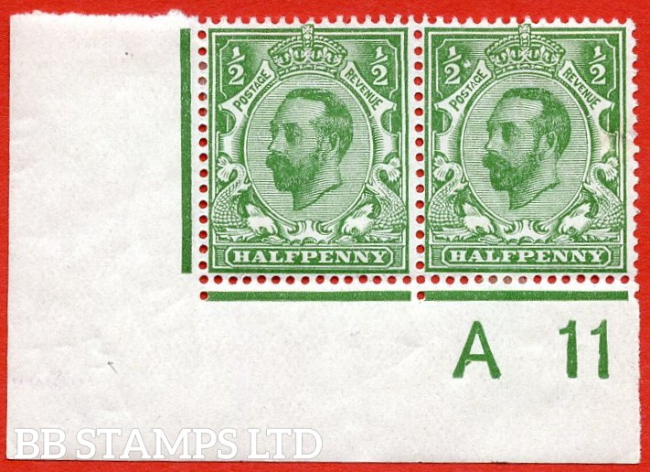 "SG. 322. N1 (1) c. ½d Green. A fine lightly mounted mint control "" A11 imperf "" corner pair with the listed variety "" White blob right of left ½. Plate 8 Row 20/2 ""."