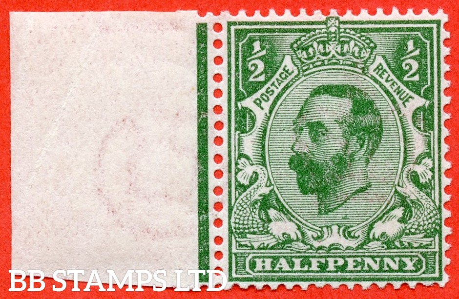 SG. 323. N1 (4). ½d Bluish Green. Die 1A. A super UNMOUNTED MINT left hand marginal example of this scarcer Downey shade complete with RPS certificate.