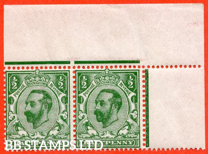 SG. 323. N1 (4). ½d Bluish Green. Die 1A. A super UNMOUNTED MINT top right hand corner marginal horizontal pair of this scarcer Downey shade complete with RPS certificate.