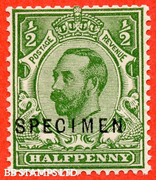 "SG. 335. N3 (1) s. ½d Green. A very fine UNMOUNTED MINT example overprinted "" SPECIMEN "" type 22."