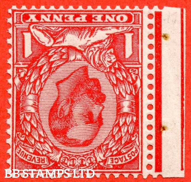 "SG. 336 wi. N10 (1) b & f. 1d scarlet. INVERTED WATERMARK. A super UNMOUNTED MINT example with the listed variety "" White flaw above right value ( row 2/1 of booklet pane NB5a ) """