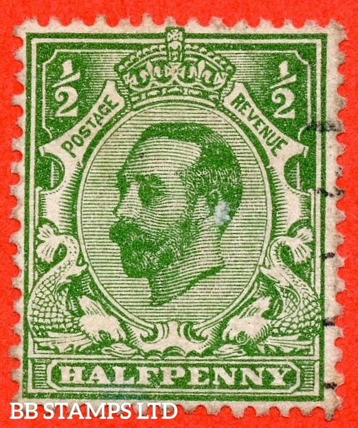 "SG. 322a. N1 (1)b. ½d Green. Perf "" 14 "". A very fine used example of this RARE and very underrated George V Downey perforation variety."