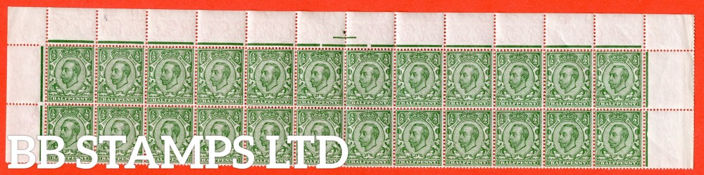 """SG. 346 wj. N6 (1) b & k. ½d Green. REVERSED WATERMARK. A fine UNMOUNTED MINT complete 2 top rows with the listed variety """" white scales. ( Plate ?. Row 1/3 ) """"."""
