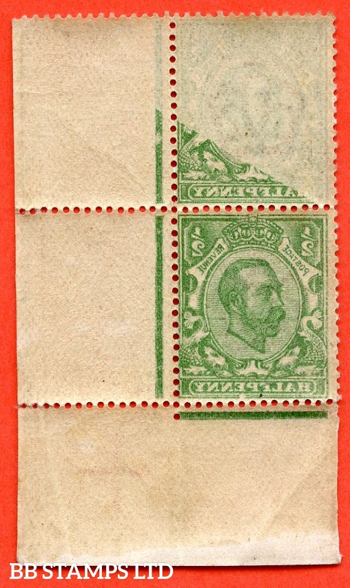 SG. 338. N4 (3). ½d Deep Green. Die 2. A fine mounted mint bottom right hand corner marginal vertical pair with a super OFF - SET error.