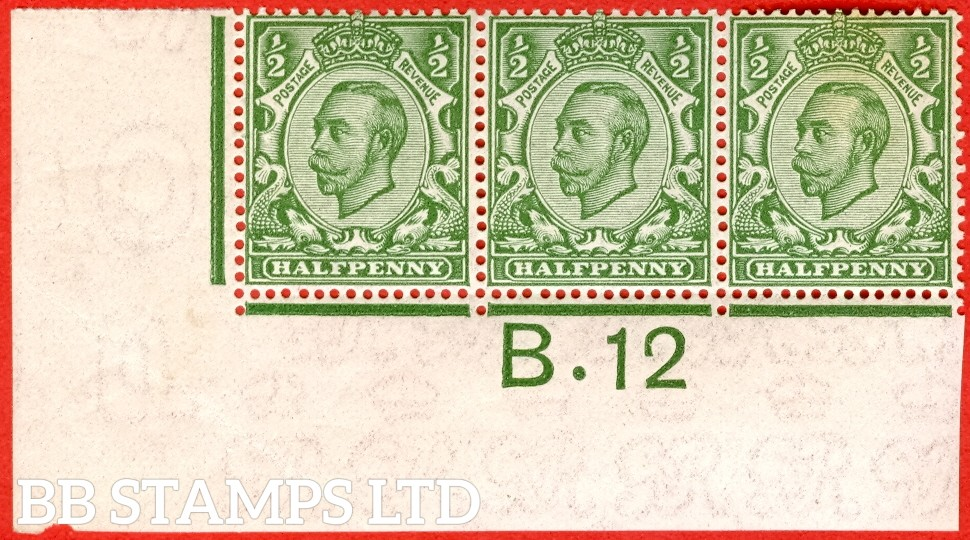 """SG. 346 N6 (1) ½d Green Die 2.  A very fine mounted mint control """" B.12 imperf  """" strip of 3. A VERY RARE strip from the Somerset House printing. Perf type 2."""
