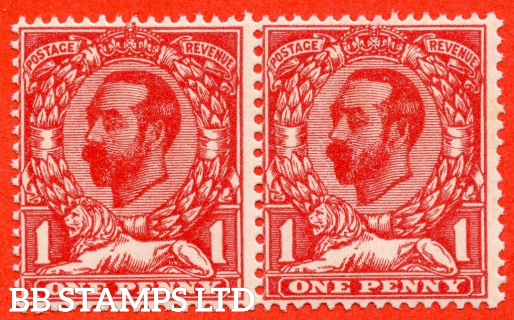 SG. 328 a. N7 (5) f. 1d Pale carmine Die A. A super UNMOUNTED MINT horizontal pair clearly showing the RARE variety ' No Cross On Crown '. A very RARE and underrated stamp.