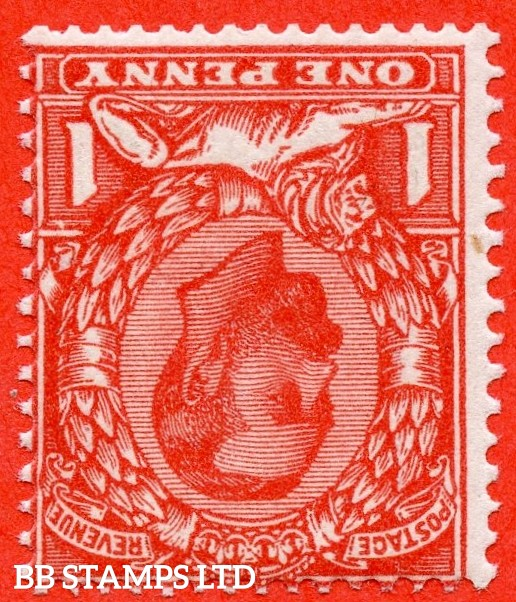 """SG. 333 wi. N9 (4) a f. 1d Aniline scarlet. INVERTED WATERMARK. A superb UNMOUNTED MINT example of this scarce Downey head shade variety. With the listed """" White flaw above right value """" variety. A RARE stamp."""