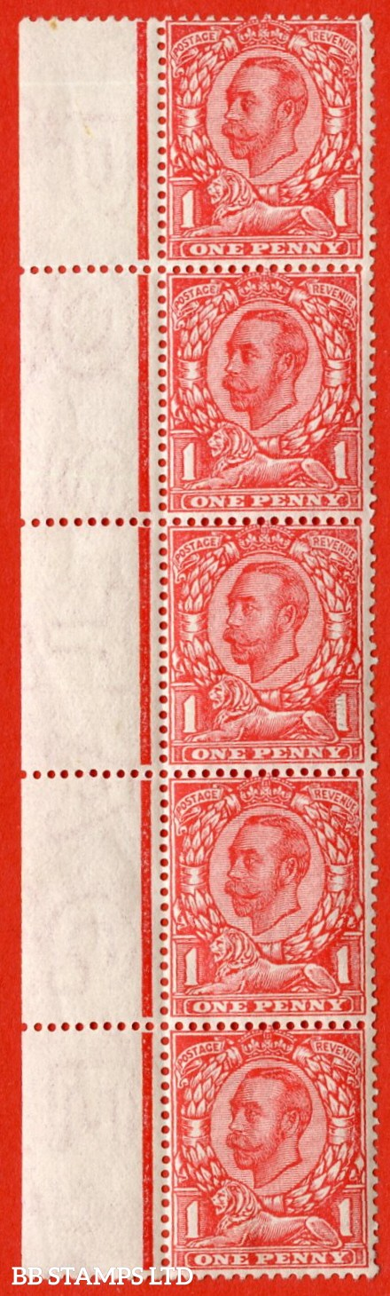 """SG. 345. N12 (1) h. 1d scarlet. A fine lightly mounted mint left hand marginal vertical strip of 5 with complete """" POSTAGE """" watermark."""