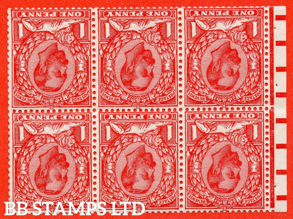 SG. 336 wi. N10 (1) b. NB5a. 1d bright scarlet. Die 1B. INVERTED WATERMARK. A fine UNMOUNTED MINT complete booklet pane. Perf type ' E '.