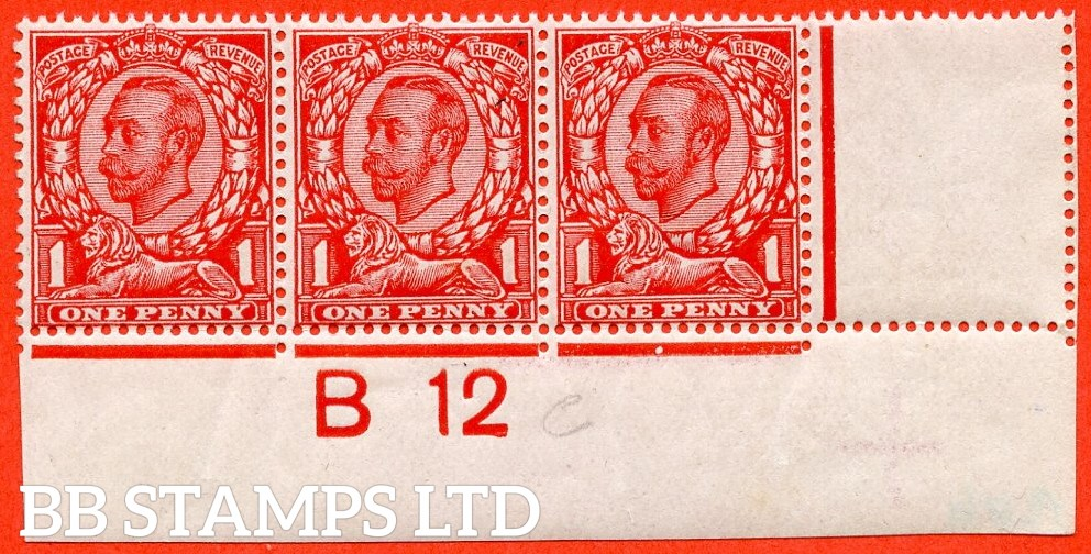 "SG. N11 ( UNLISTED ). 1d Deep Scarlet. A fine UNMOUNTED MINT control "" B12 close imperf "" strip of 3 of this known but unlisted by SG. George V Downey Head shade variety. With Hendon certificate."