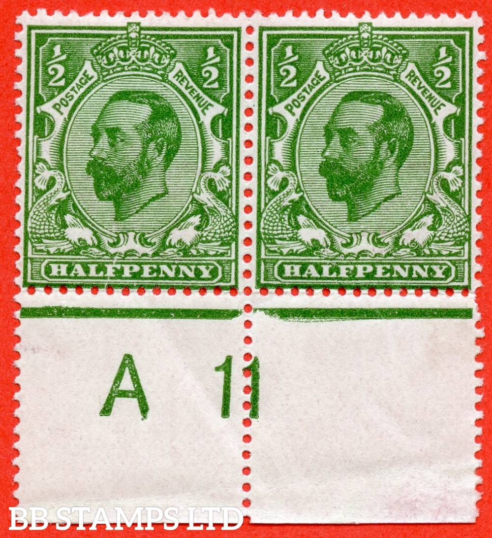 "SG. 324. N2 (3) c. ½d green. Die 1B. A fine mounted mint control "" A11 ' close ' -- perf "" horizontal pair with the left hand stamp clearly showing the listed variety "" cracked plate (p1. 3. Row 20/2 ) ""."