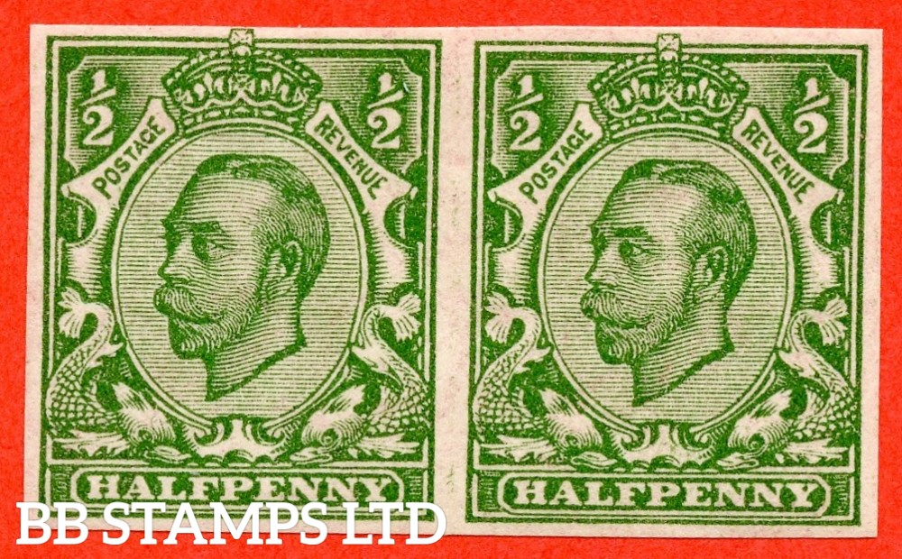 "SG. 346 b. N6 (1) f. ½d green "" IMPERF "". A super UNMOUNTED MINT horizontal pair of this scarcer Downey variety."