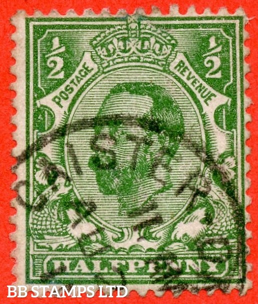 "SG. 322a. N1 (1) b. ½d Green. Perf "" 14 "". A very fine "" August 1911 CAISTER "" CDS used example of this RARE and very underrated George V Downey perforation variety."