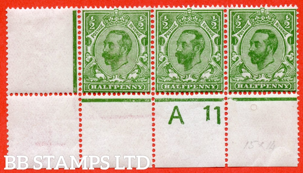 "SG. 324. N2 (3) c. ½d yellow green. Die 1B. A very fine UNMOUNTED MINT control "" A11 perf -- wide "" strip of 3 with the listed variety "" cracked plate ( plate 3. Row 20/2 ) ""."