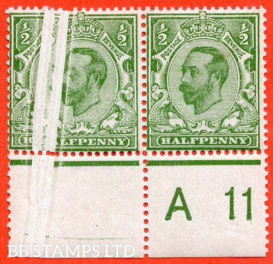 "SG. 325. Variety N2 (2). ½d pale bright green. Die 1B. A very fine UNMOUNTED MINT control "" A11 perf "" pair with a very nice "" PRE - PRINTING PAPER FOLD "" error."