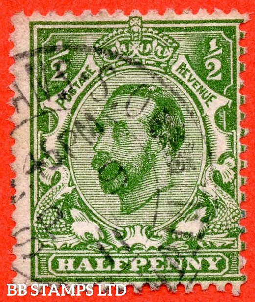 "SG. 322a. N1 (1)b. ½d Green. Perf "" 14 "". A very fine CDS used example of this RARE and very underrated George V Downey perforation variety."