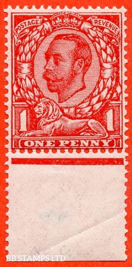 SG. 350 a N13 (1) f. 1d Scarlet. NO CROSS ON CROWN. A very fine UNMOUNTED MINT example of this much scarcer Downey variety.