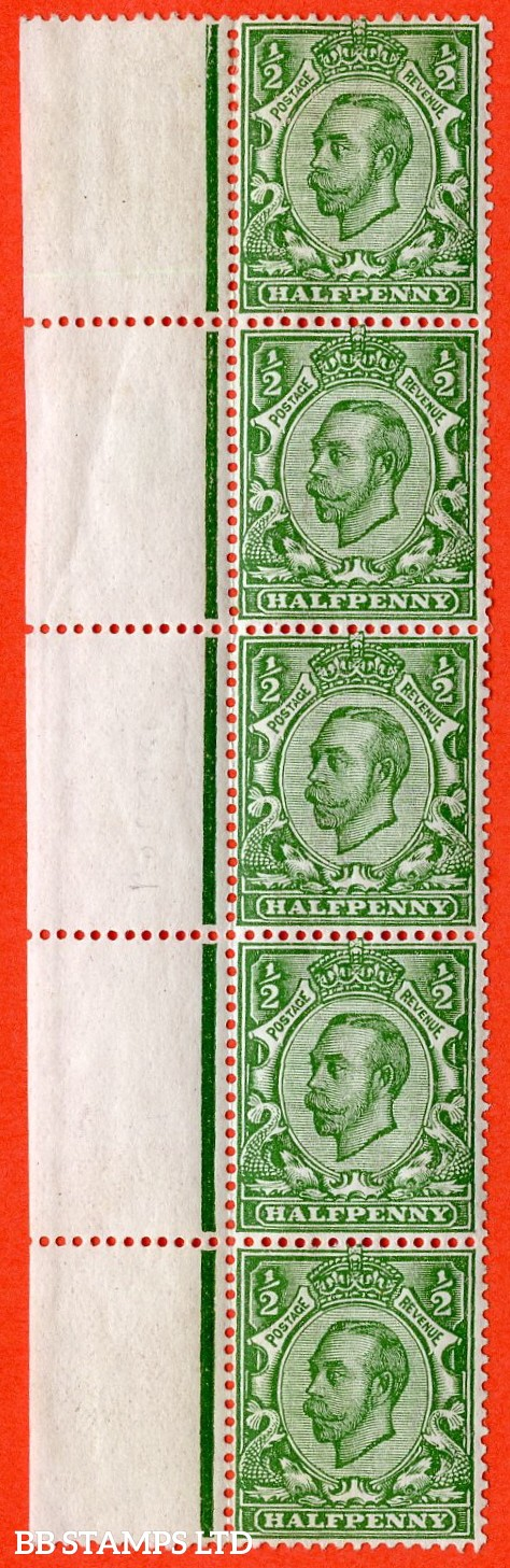 """SG. 344. N5 (1) h. ½d green. Die 2. A fine lightly mounted mint left hand marginal vertical strip of 5 with the listed variety """" POSTAGE WATERMARK """"."""