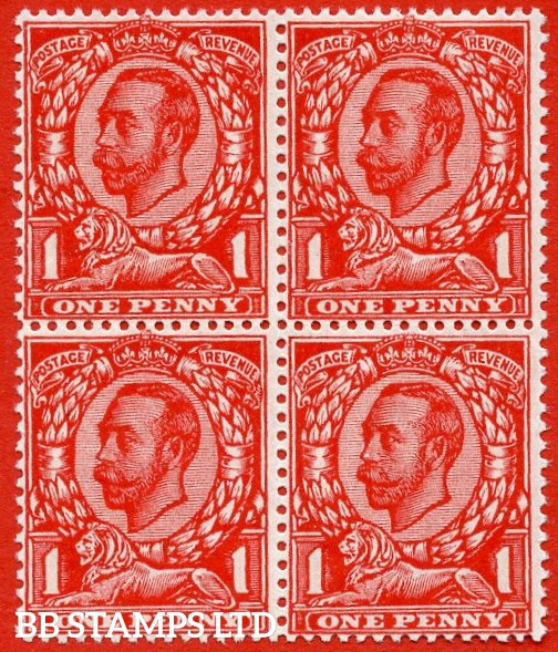 SG. 341 Variety N11(4). 1d Very Deep Bright Scarlet. A superb UNMOUNTED MINT block of 4 of this scarce Downey shade. Exceptional colour and a lovely piece.