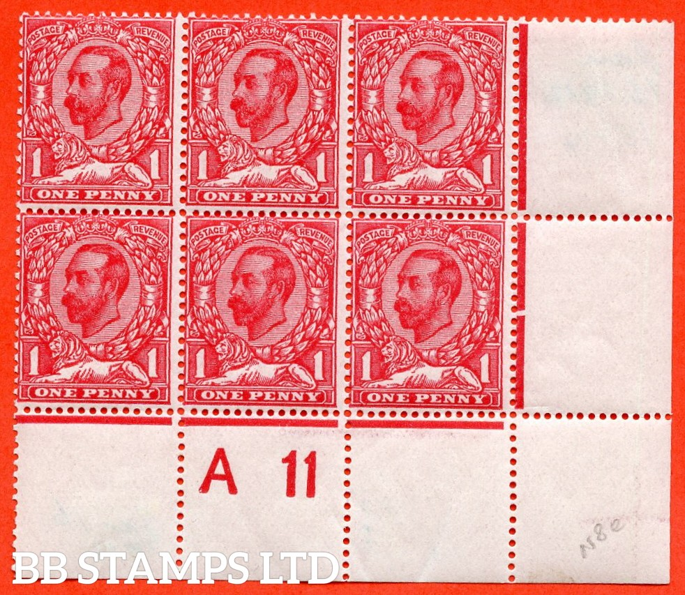 "SG. 329. N8 (1) e. 1d Carmine Die 1B. A very fine mint control "" A11 ( close ) "" perf type 1A block of 6. Clearly showing the listed variety "" frame break over EP ( plate 3b/3c row 19/11 ) ""."