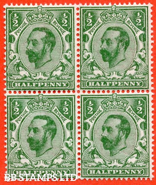 SG. 323. N1 (4). ½d Bluish Green. Die 1A. A super UNMOUNTED MINT block of 4 of this scarcer Downey shade complete with RPS certificate.