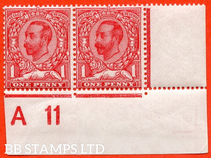 """SG. N8 (6) d. 1d carmine red. A fine UNMOUNTED MINT control """" A11 close - imperf """" horizontal pair with the listed variety """" white spot left of ' O ' and white spot above ' T ' of POSTAGE. PL.14. Row 20/11."""