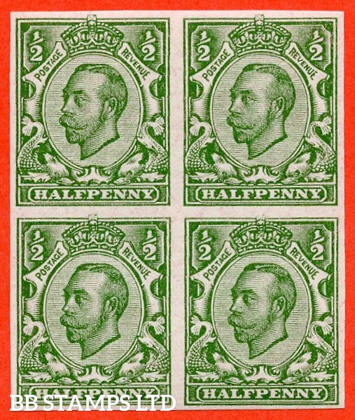 """SG. 346 b. N6 (1) f. ½d green """" IMPERF """". A Super UNMOUNTED MINT block of 4 scarcer Downey variety."""