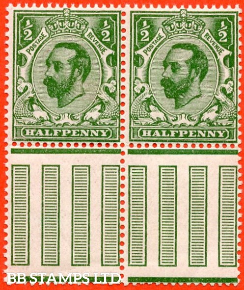 SG. 323. N1 (4). ½d Bluish Green. A super UNMOUNTED MINT bottom marginal horizontal pair of this scarcer Downey shade complete with BPA certificate.