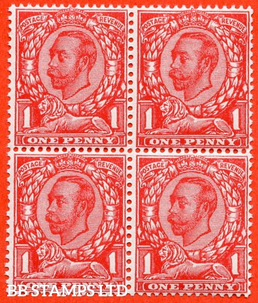 SG. 345 a. Variety N12 (2) e. 1d Bright Scarlet. NO CROSS ON CROWN. A very fine UNMOUNTED MINT block of 4 with the bottom right hand stamp clearly showing the error.