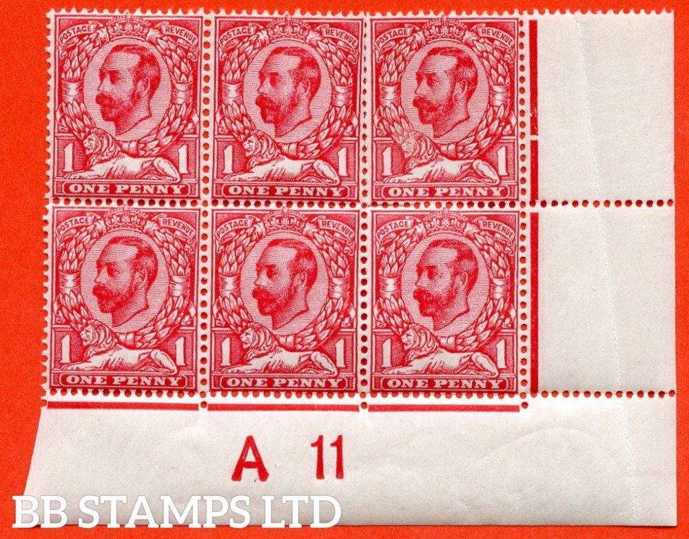 "SG. N8 (4) k. 1d bright carmine. Die 1B. A fine mint control "" A11 close - imperf "" block of 6 with the listed variety "" pale lion. Plate 12. Row 19/12 ""."