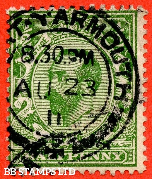 "SG. 322a. N1 (1) b. ½d Green. Perf "" 14 "". A very fine "" 23rd August 1911 GREAT YARMOUTH "" CDS used example of this RARE and very underrated George V Downey perforation variety."