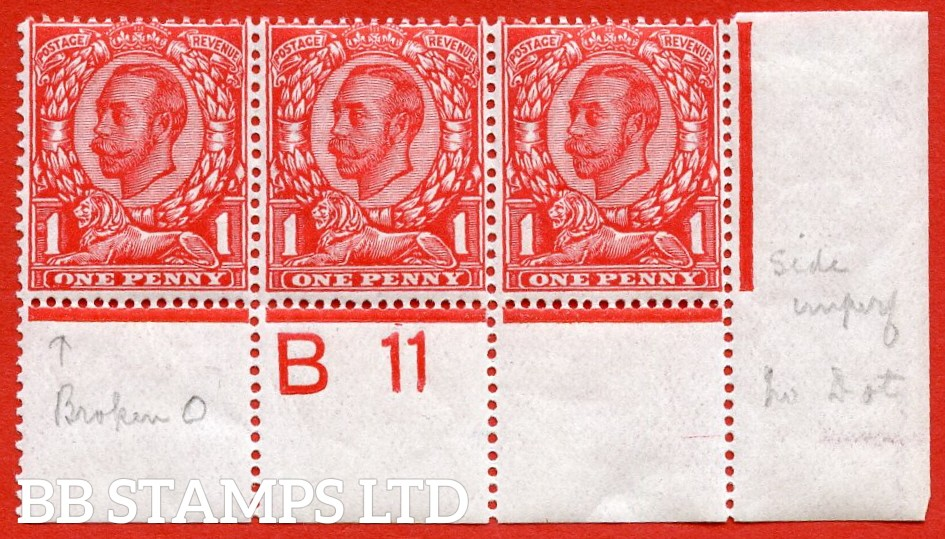 "SG. 341. N11 (1) e. 1d scarlet die 2. A fine UNMOUNTED MINT control "" B11 perf "" strip of 3 with the listed variety "" coloured blot on ' O ' of ONE ( pl. 5b row 20/10 )."