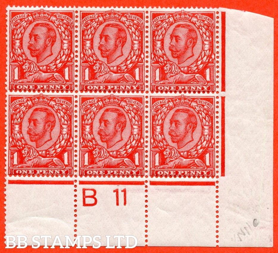 """SG. 341. N11 (2) e. 1d bright scarlet. Die 2. A very fine mint control """" B11 """" perf type 2A block of 6. Clearly showing the listed variety """" coloured blot on ' O ' of ' ONE ' ( Plate 5b Row 20/10 """"."""